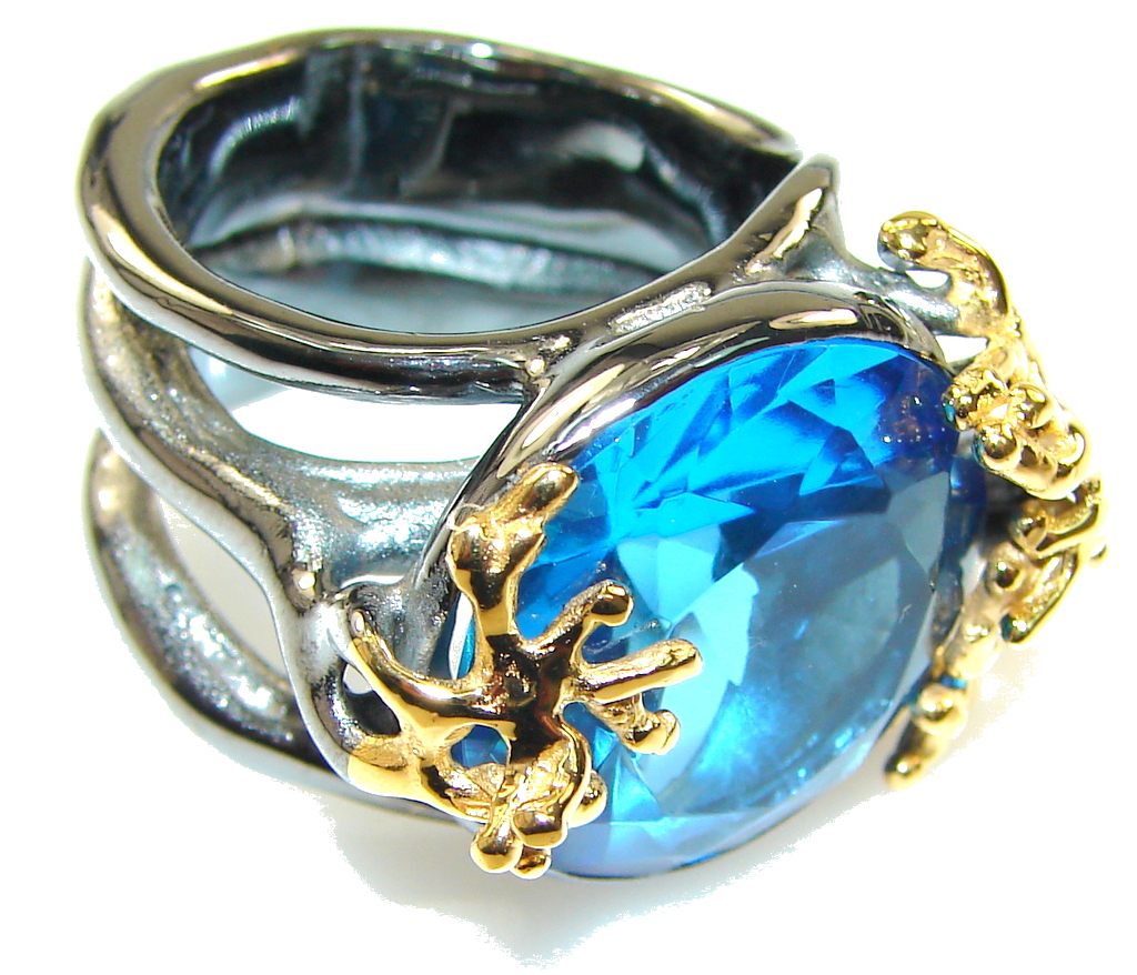 Italy Made,Rhodium Plated, 18ct Gold Plated London Blue Topaz Sterling Silver Ring s. 6 1/2