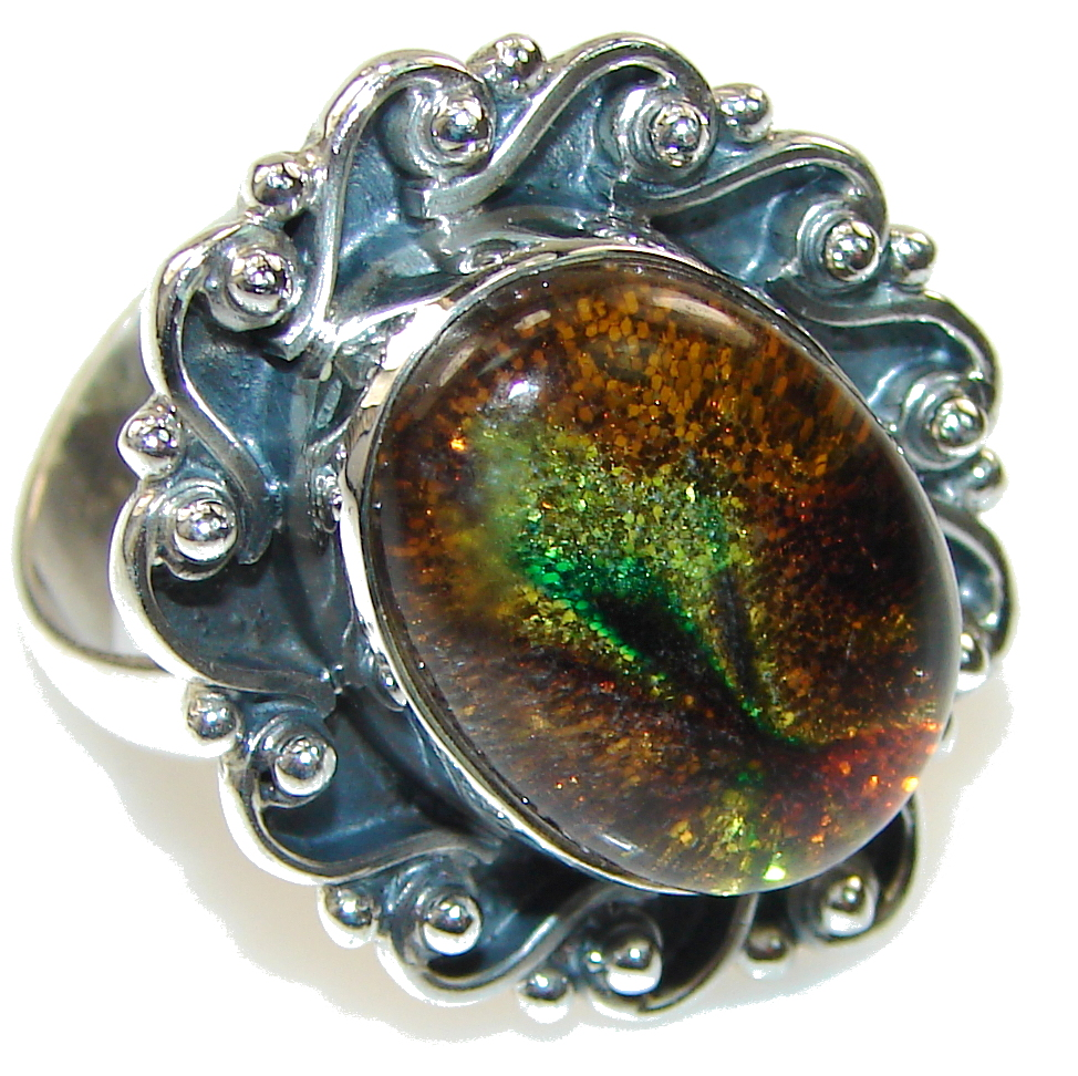 Precious Orange Dichroic Glass Sterling Silver ring s. 9