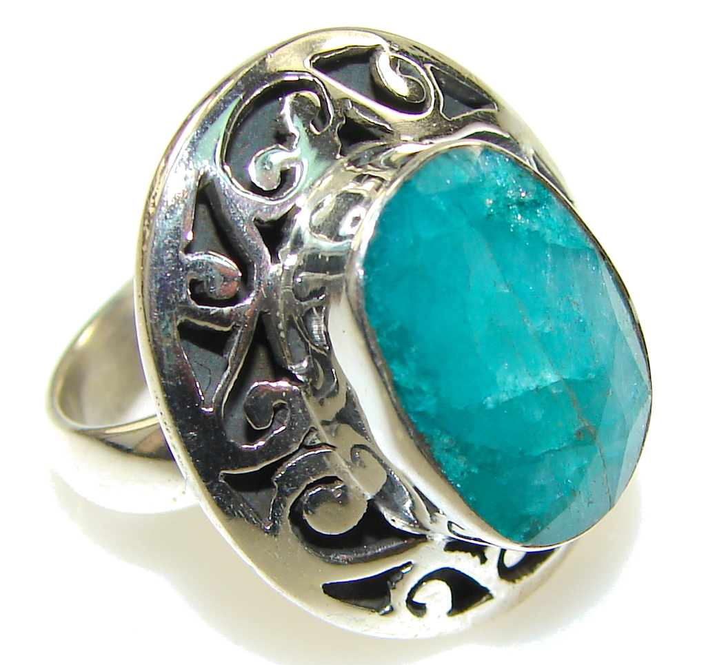 Natural Green Emerald Sterling Silver ring s. 6 1/4