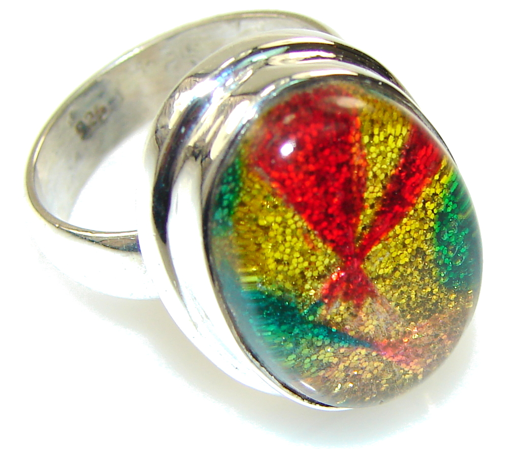 Rainbow Color!!! Dichroic Glass Sterling Silver ring s. 6