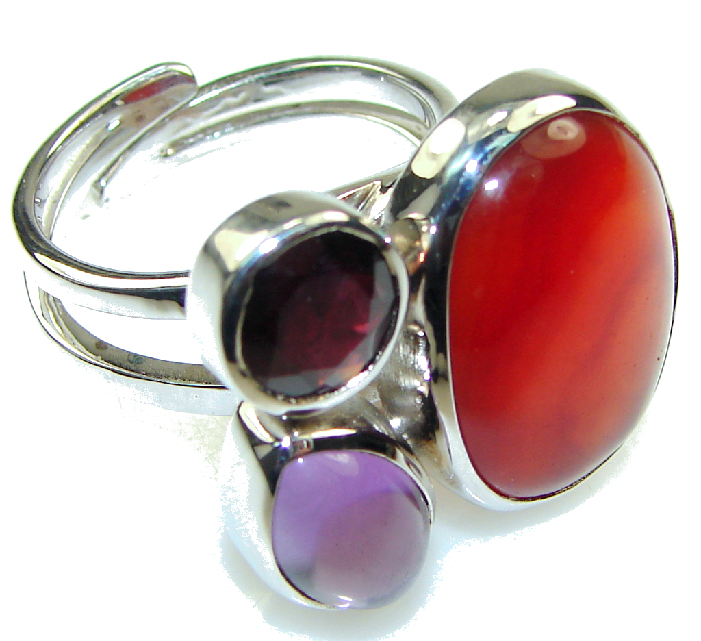 Amazing Design Red Carnelian Sterling Silver ring s. 9- adjustable