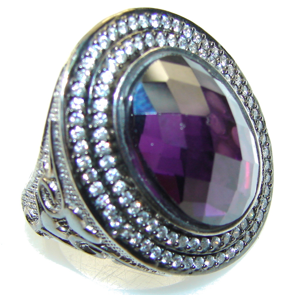 New Style Of Purple Amethyst Sterling Silver ring; size 6 3/4
