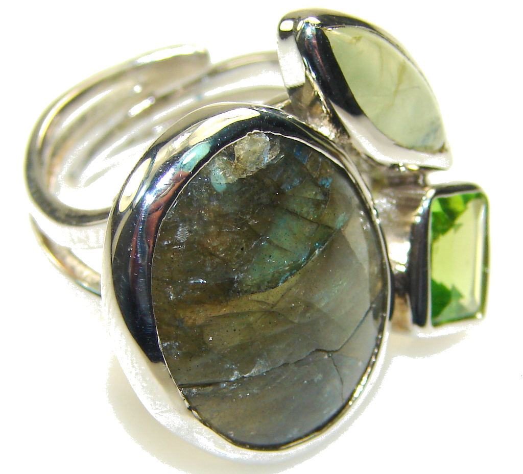 Green Love Labradorite Sterling Silver ring s. 8 - Adjustable