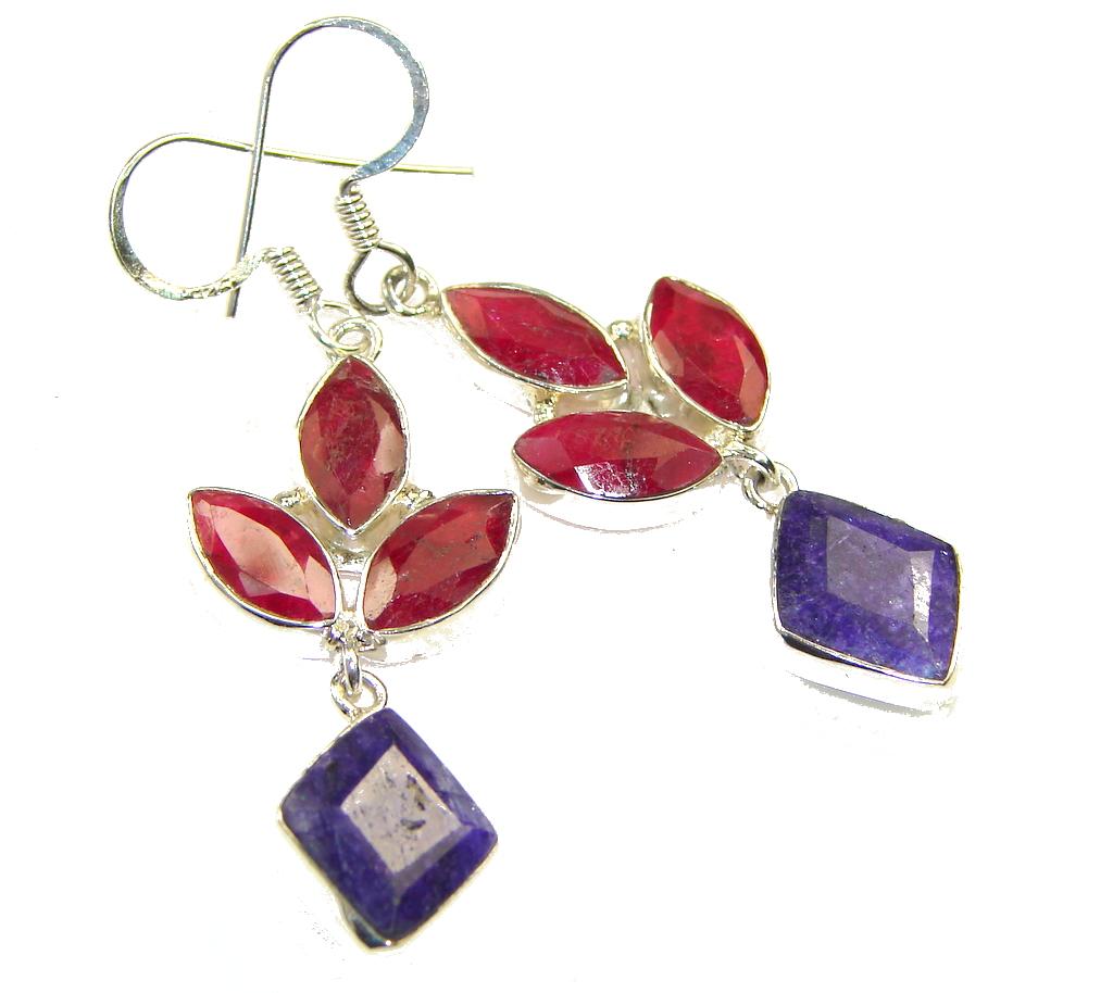 Secret Red Ruby Sterling Silver earrings
