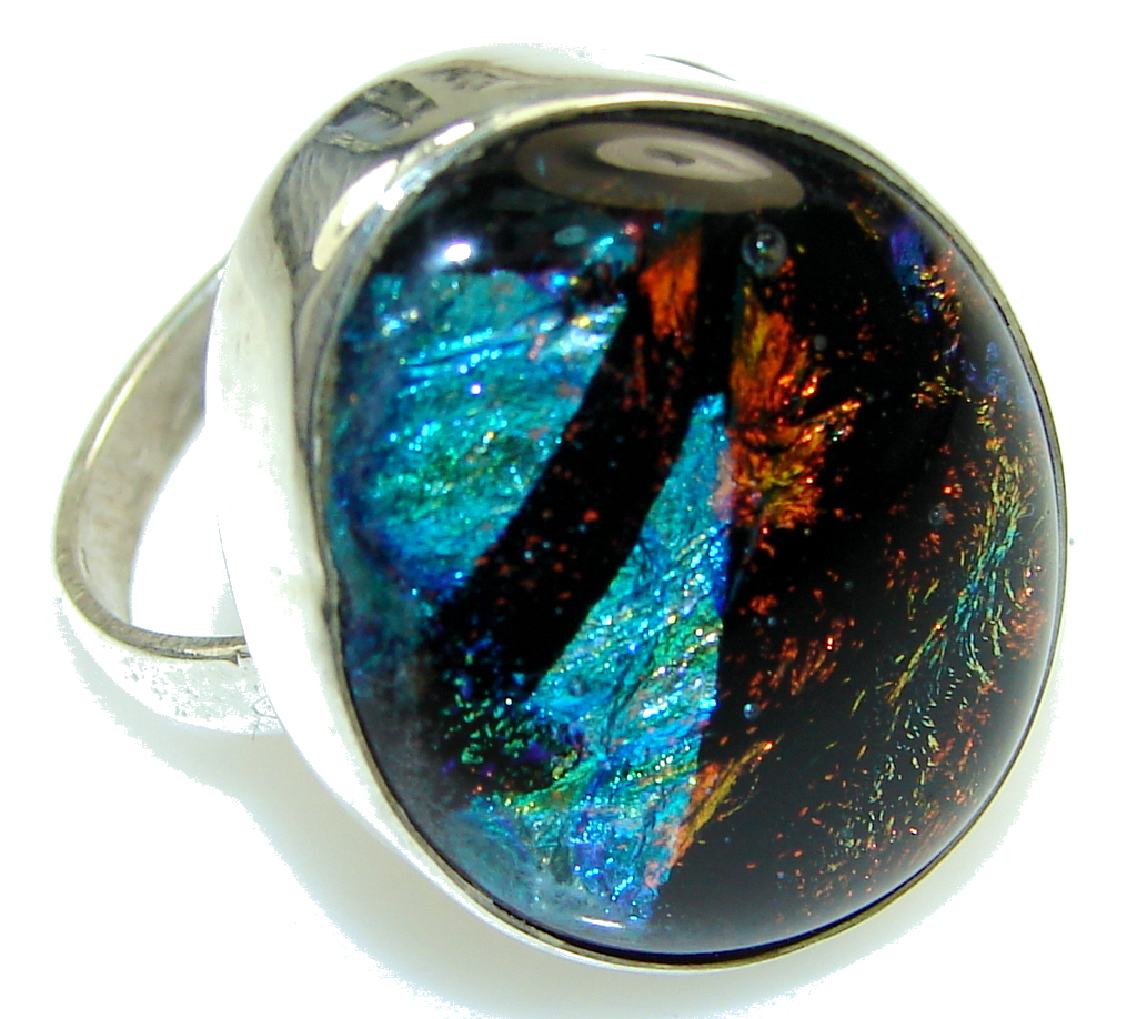 Disco Light!! Dichroic Glass Sterling Silver ring s. 11