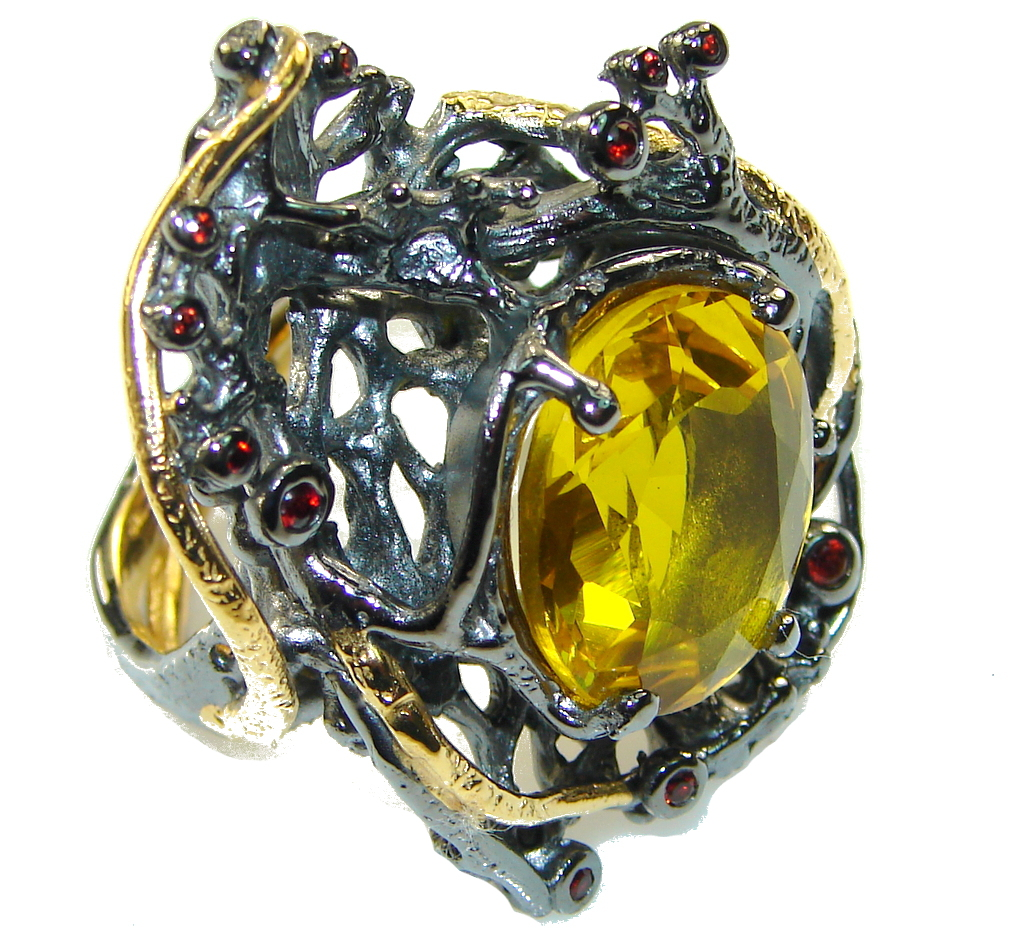 Italy Made,Rhodium Plated, 18ct Gold Plated Yellow Citrine Sterling Silver Ring s. 9