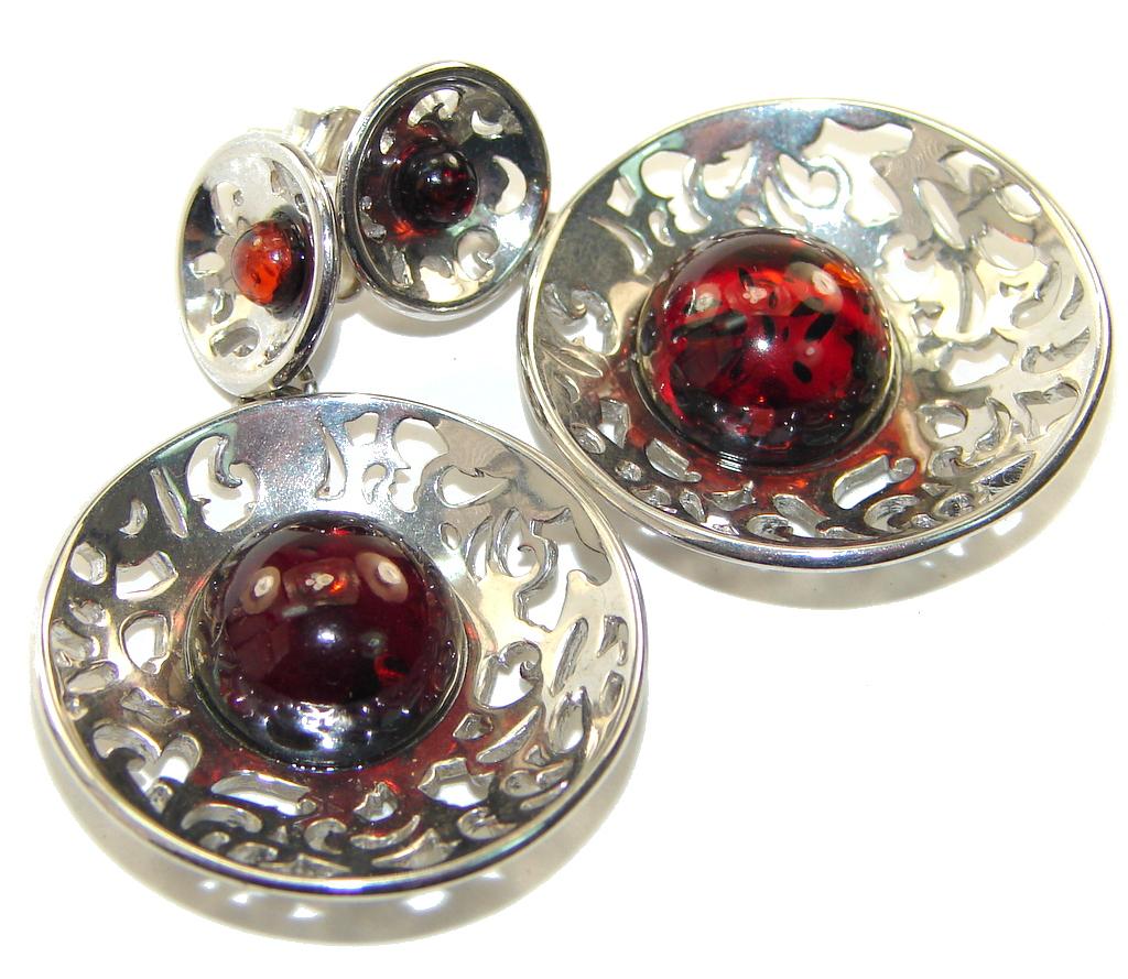 Incredible Deep Brown Polish Amber Sterling Silver earrings