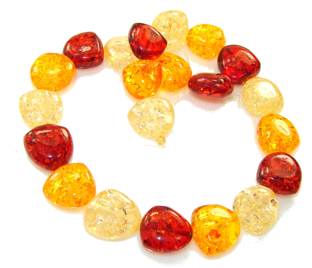 Great Shiny Baltic Gift Pressed Amber Beads Strand