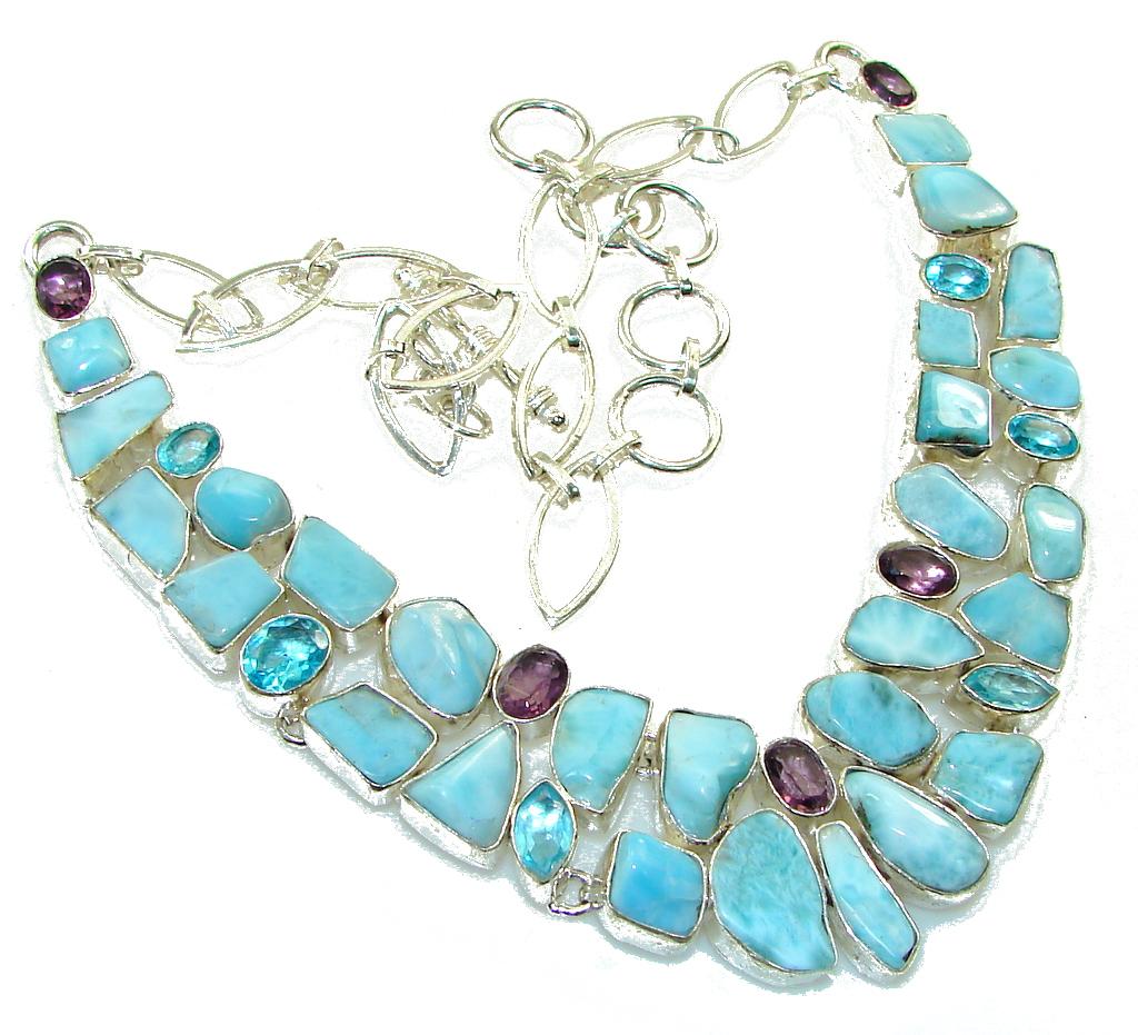 Image of Aqua Grece!! Blue Larimar Sterling Silver necklace