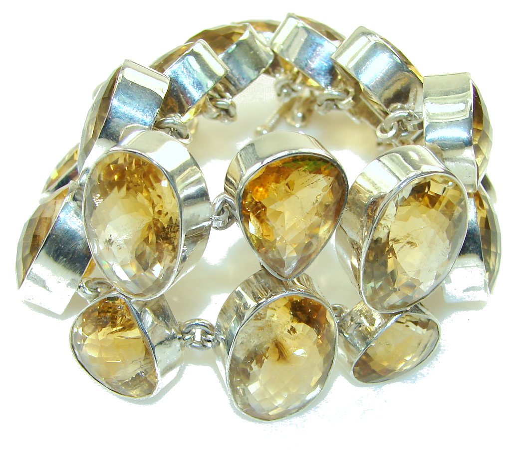 Chunky Gorgeous Natural Citrine Sterling Silver Bracelet