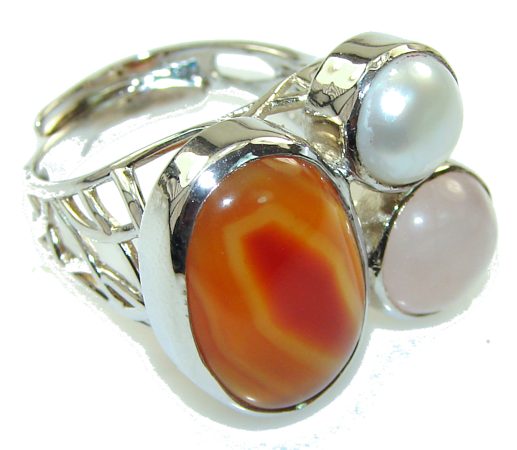 Aura Of Beauty Carnelian Sterling Silver ring s. 8 - Adjustable