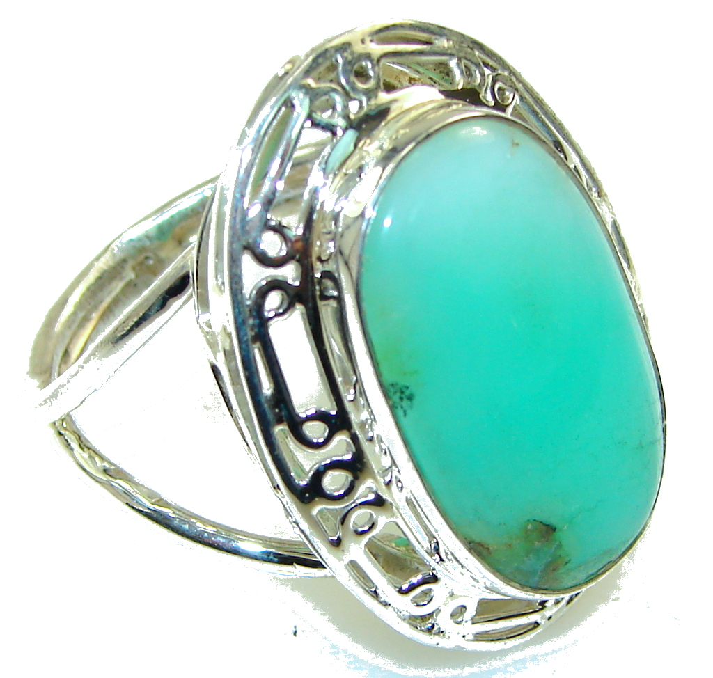 Amazing Chrysoprase Sterling Silver ring s. 11