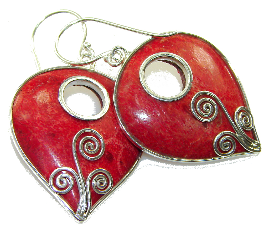 Perfect Red Fossilized Coral Sterling Silver earrings