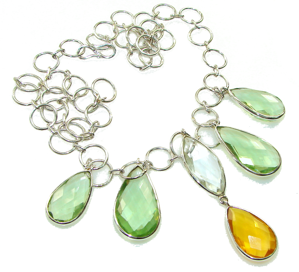 Green Island!!! Light Green Amethyst Sterling Silver necklace