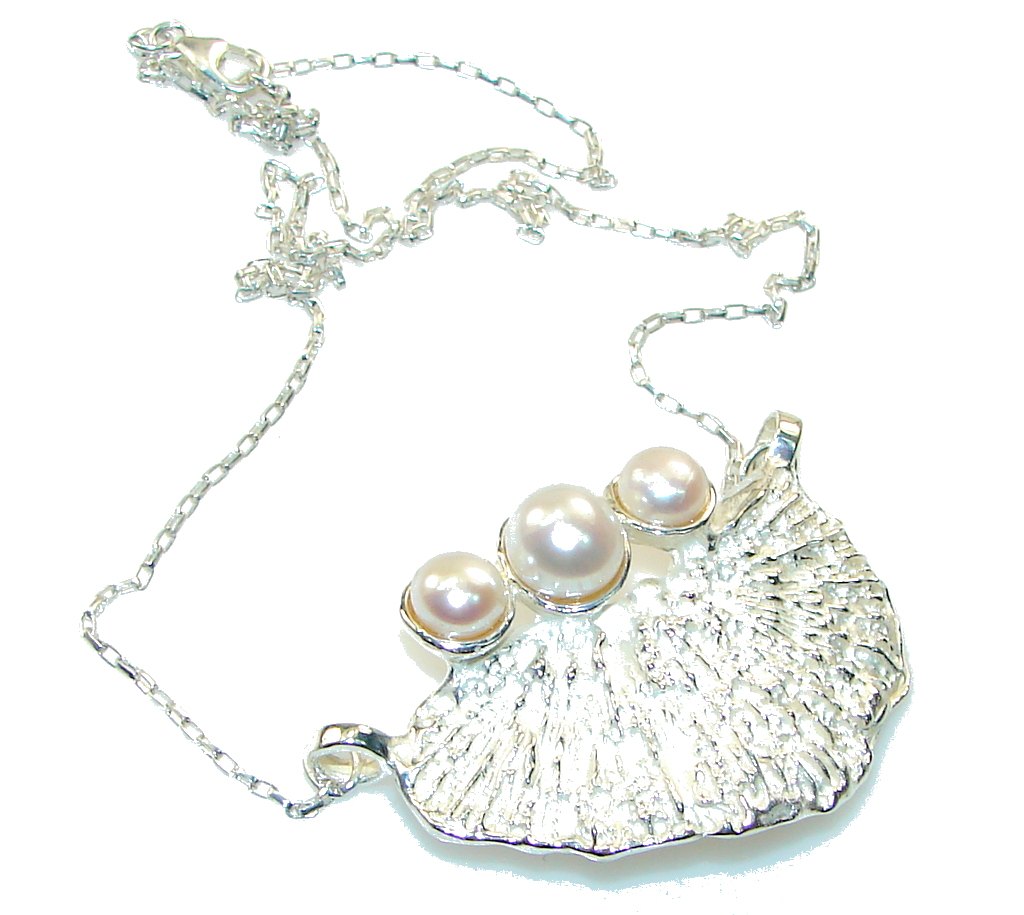 Amazing Design!!! Fresh Water Pearl Silver Necklace