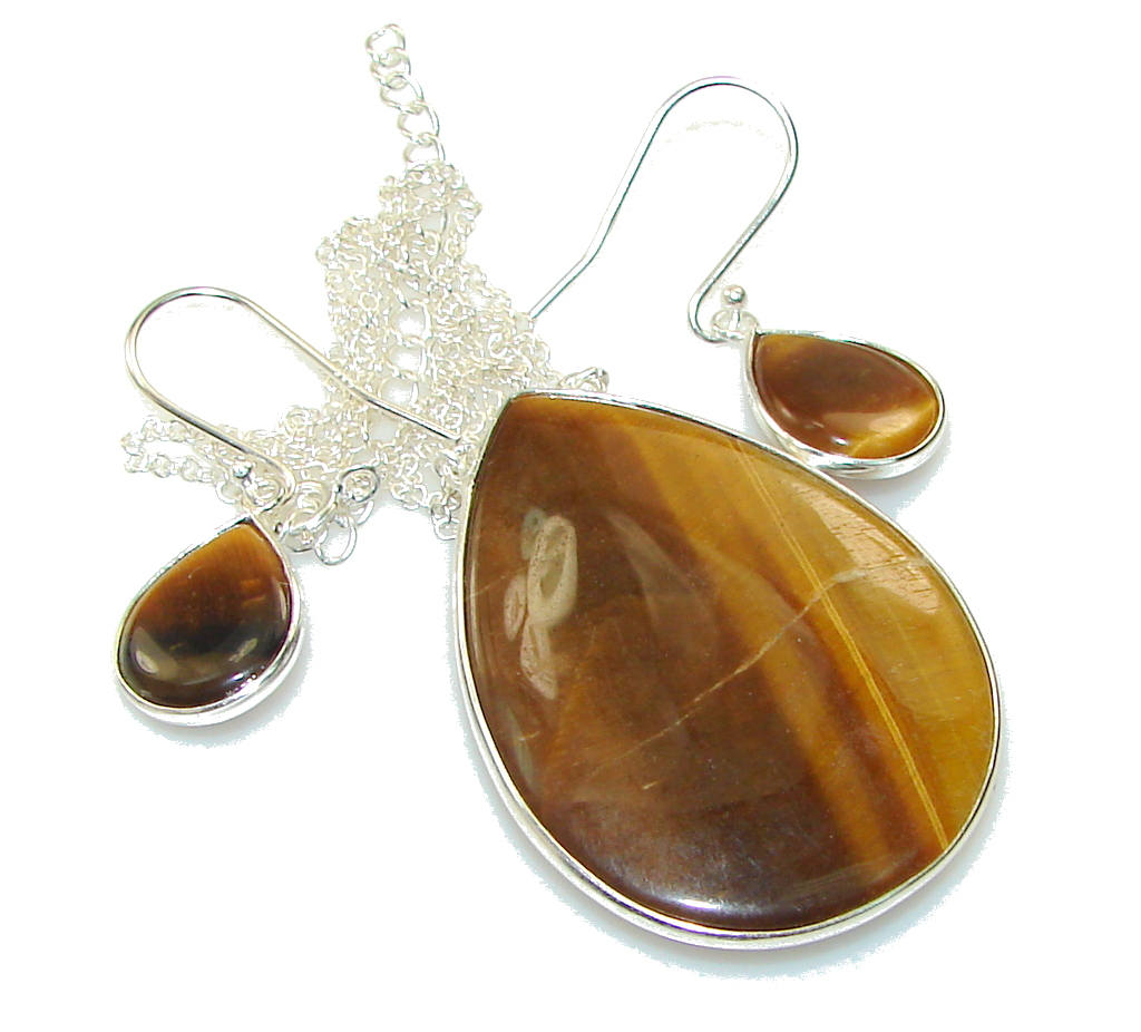 Image of Perfect Gift! Tigers Eye Sterling Silver Necklace / Earrings