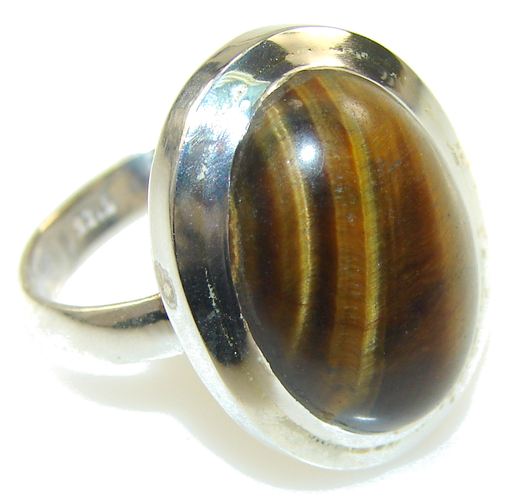Amazing Brown Tigers Eye Sterling Silver Ring s. 6 1/4