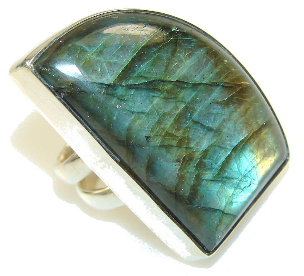 Falling In Love!! Labradorite Sterling Silver Ring s. 7 1/2