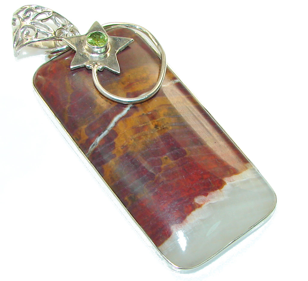 Big! Awesome Style!! Burro Creek Jasper Sterling Silver Pendant