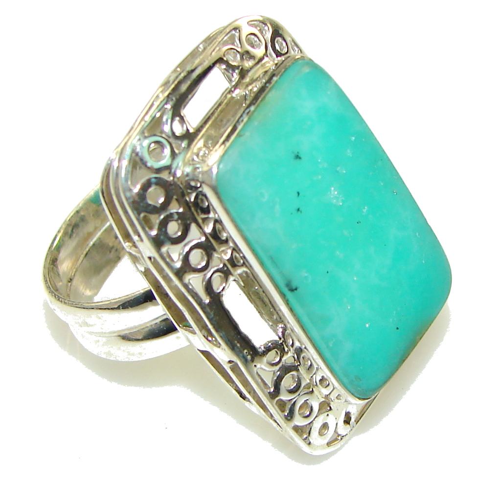 Precious Color Of Chrysoprase Sterling Silver ring