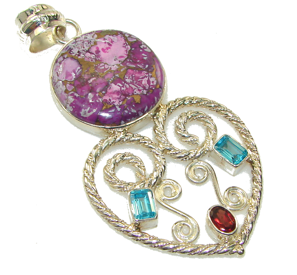 Big!! Excellent Purple Copper Turquoise Sterling Silver Pendant
