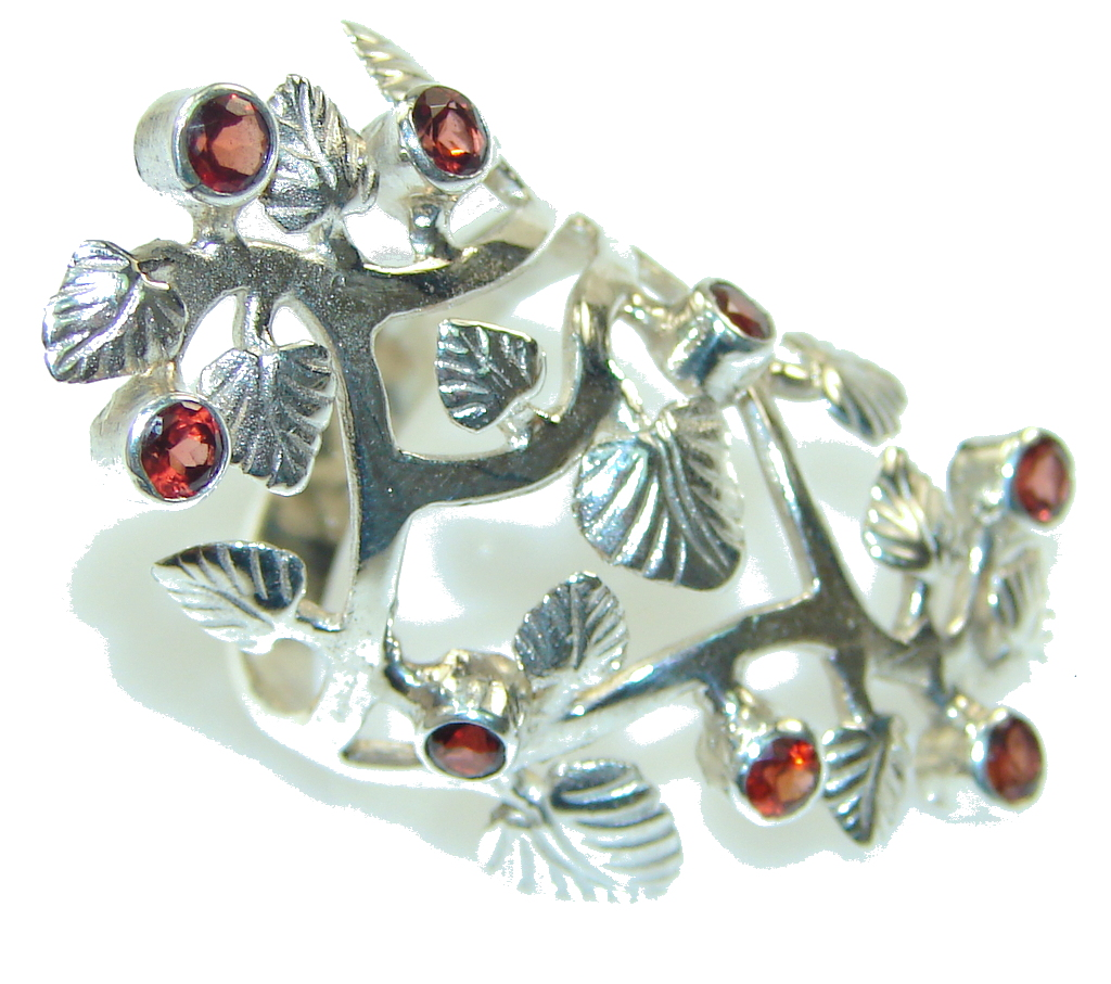 Special Moment!! Red Garnet Sterling Silver Sculptured Ring