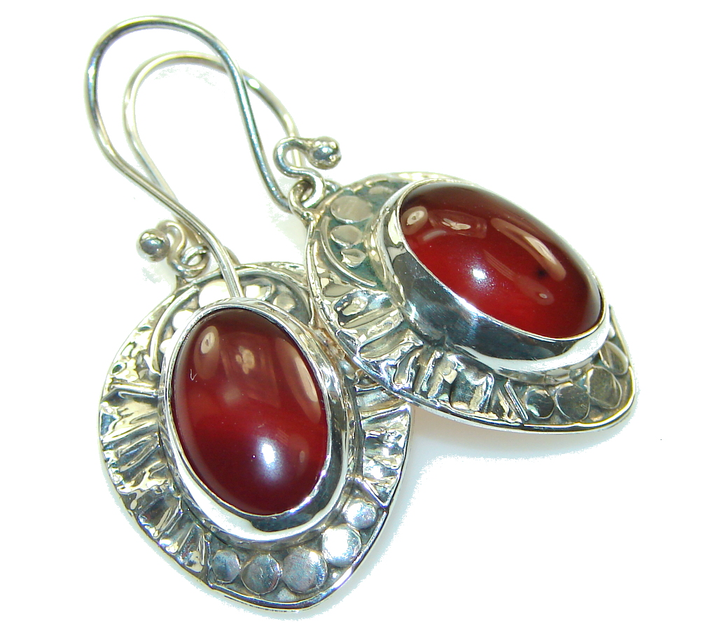 Fantastic Brown Carnelian Sterling Silver earrings