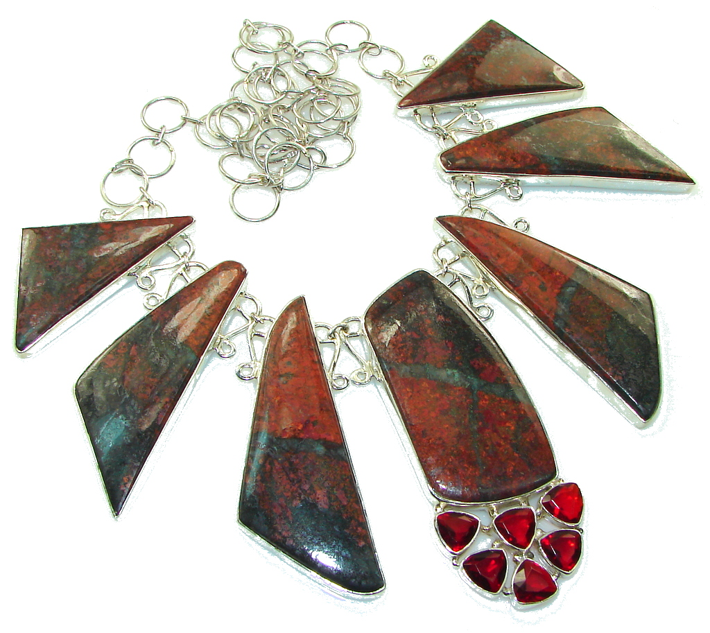 Huge!! Love Power! Red Sonora Jasper Sterling Silver Necklace