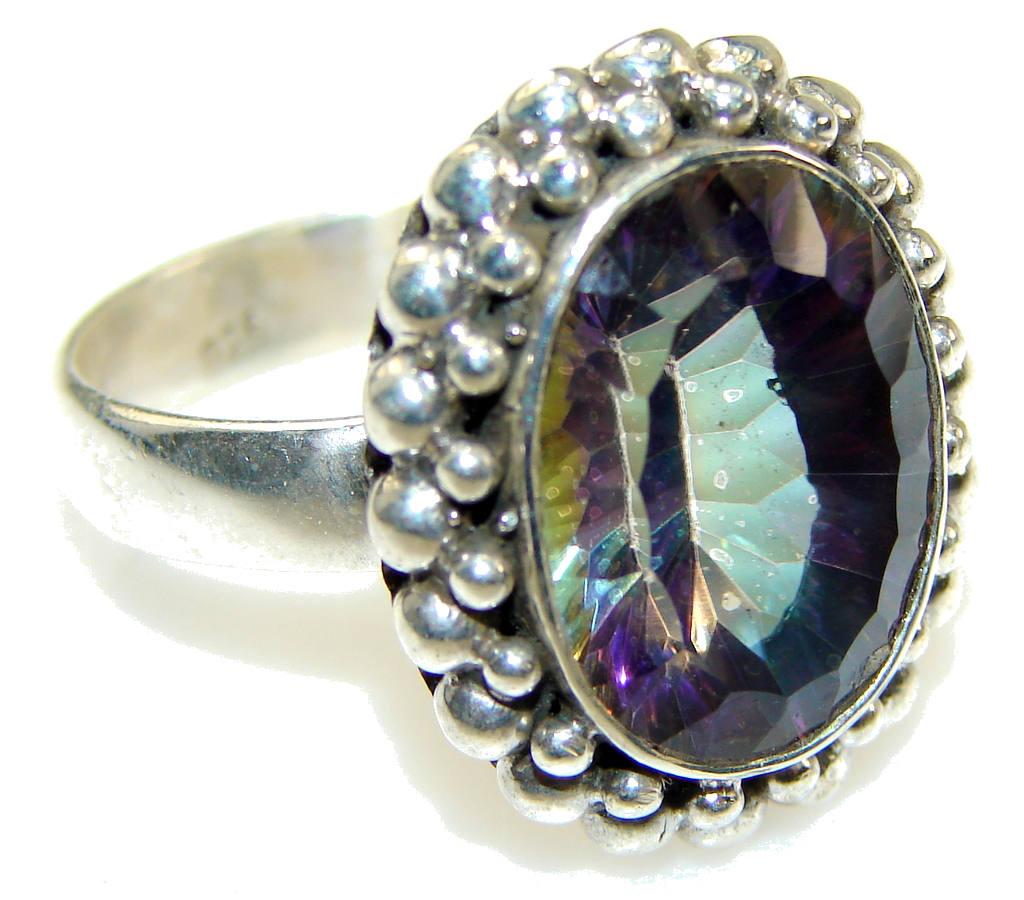 Amazing Purple Mystic Topaz Sterling Silver ring; s. 8 1/2
