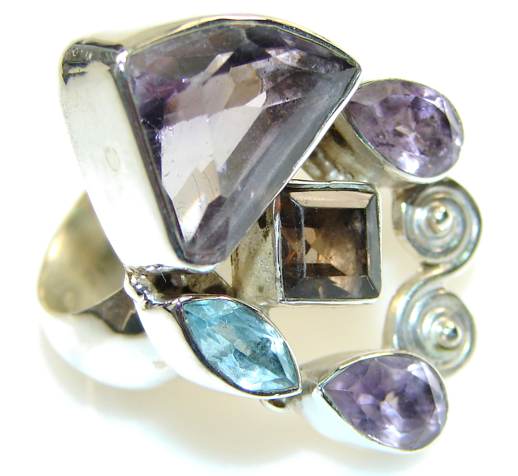 Delicate Light Purple Amethyst Sterling Silver ring; size 7