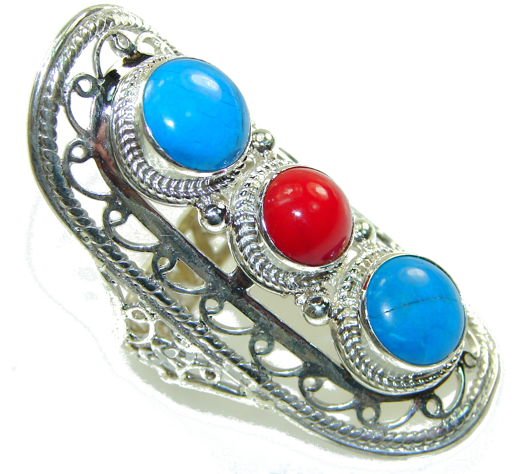 Big! Stylish Turquoise & Coral Sterling Silver Ring s. 10
