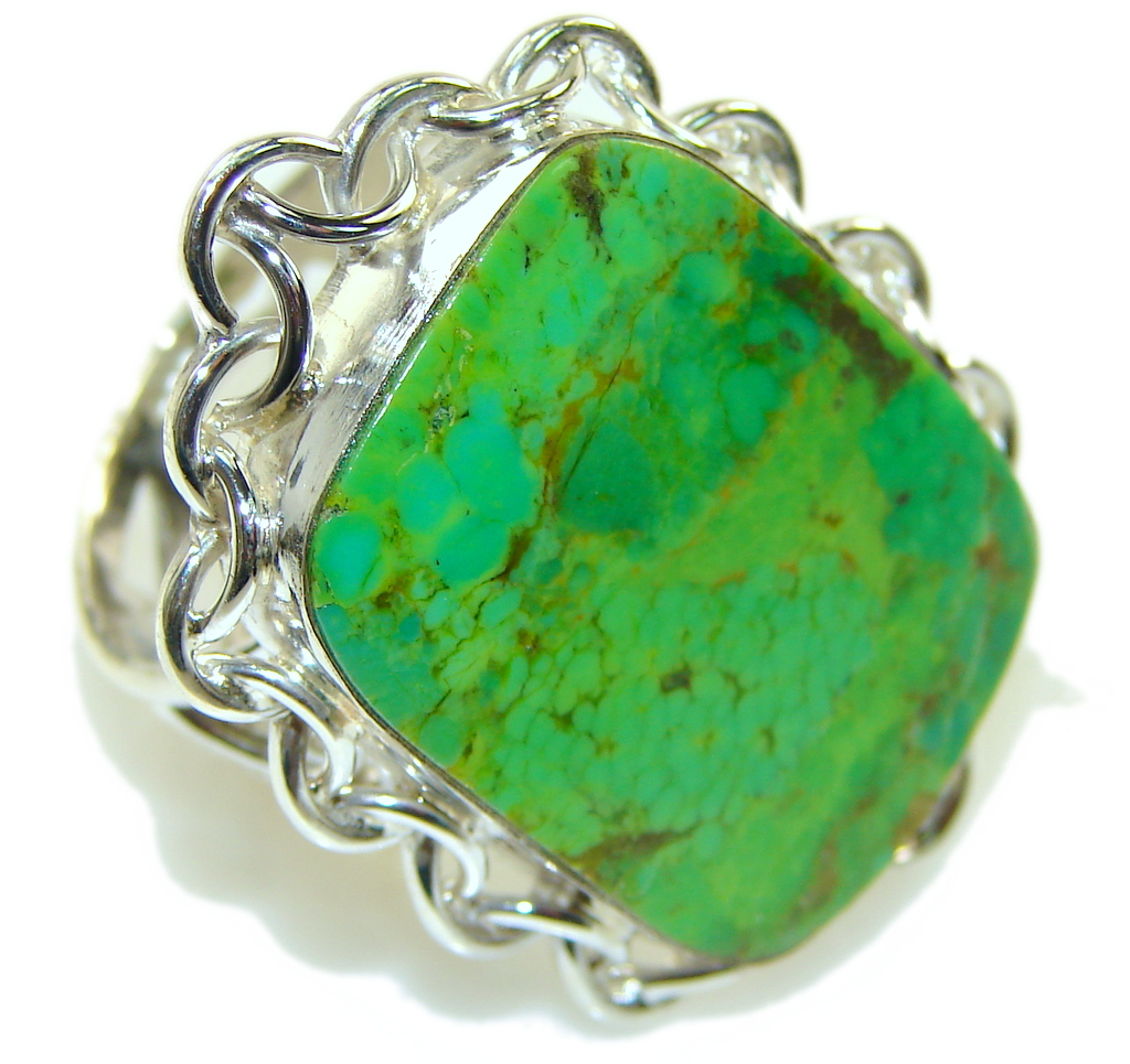 Big! Fresh Green Turquoise Sterling Silver Ring s. 10 1/4
