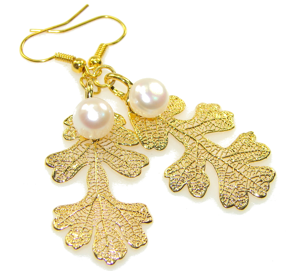 New!! Fabulous Design! White Fresh Water Pearl, Gold Plated Sterling Silver Earrings