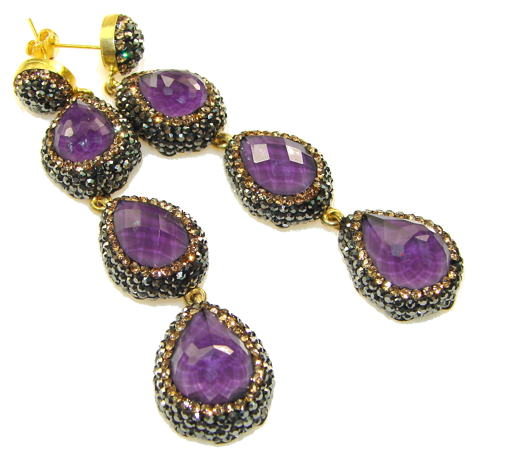 marcassite.com Love Power!! Purple Amethyst Sterling Silver earrings / Long