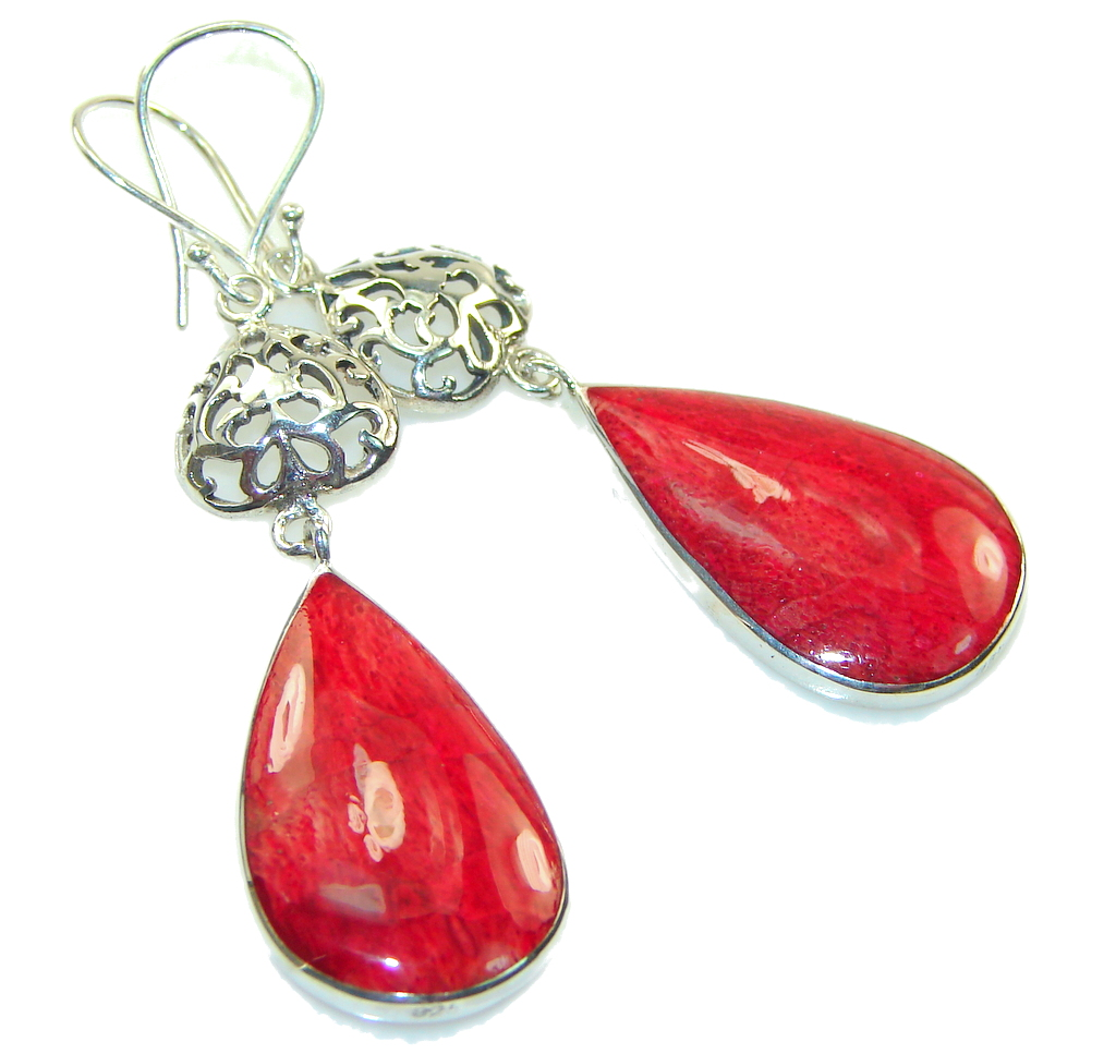 Passion!! Red Fossilized Coral Sterling Silver earrings