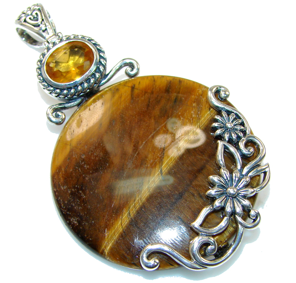 Amazing Design!! Brown Tigers Eye Sterling Silver Pendant
