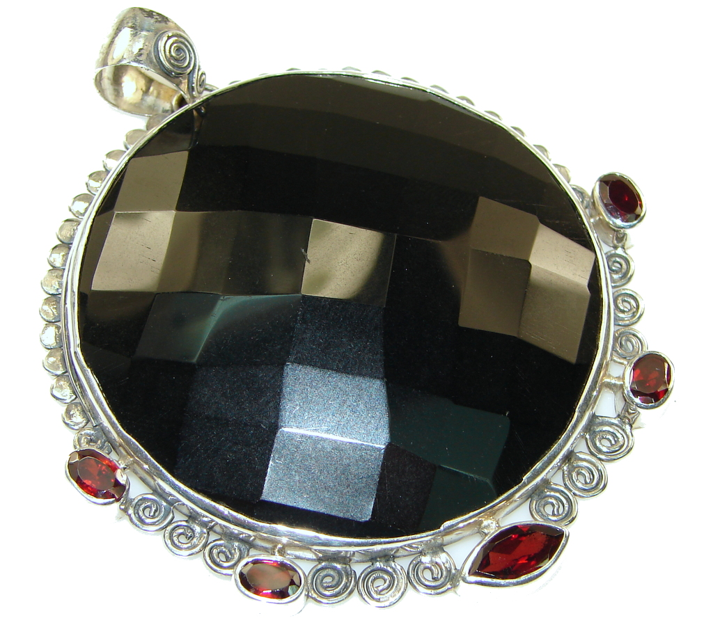 Awesome Natural Black Onyx Sterling Silver Pendant