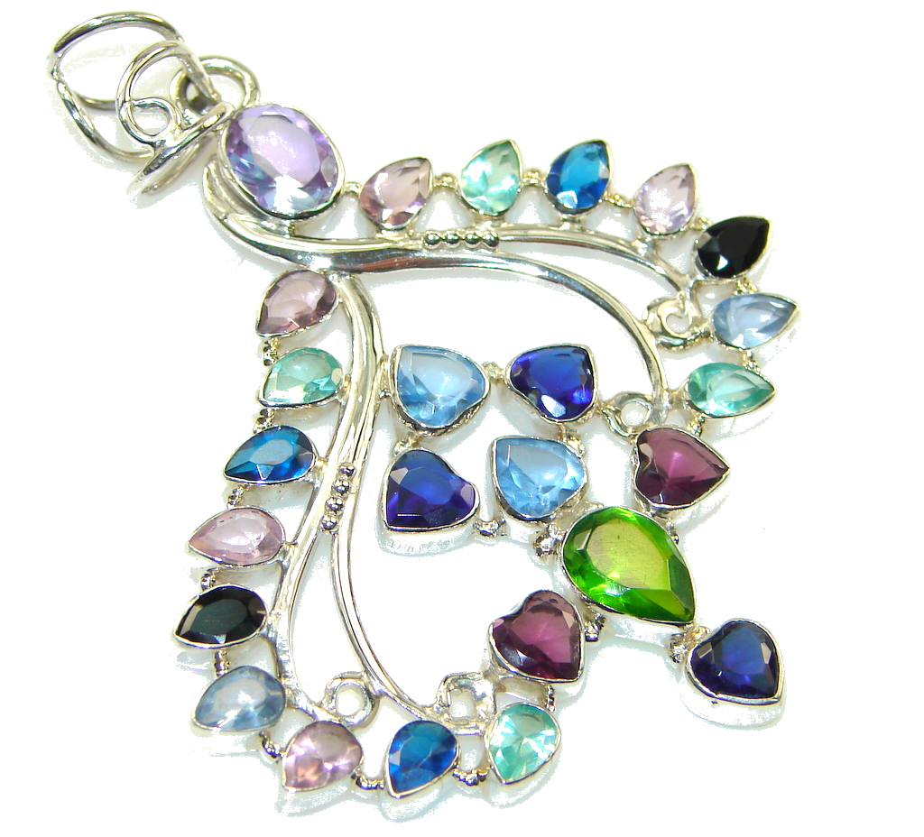 Beautiful Multicolor Quartz Sterling Silver Pendant