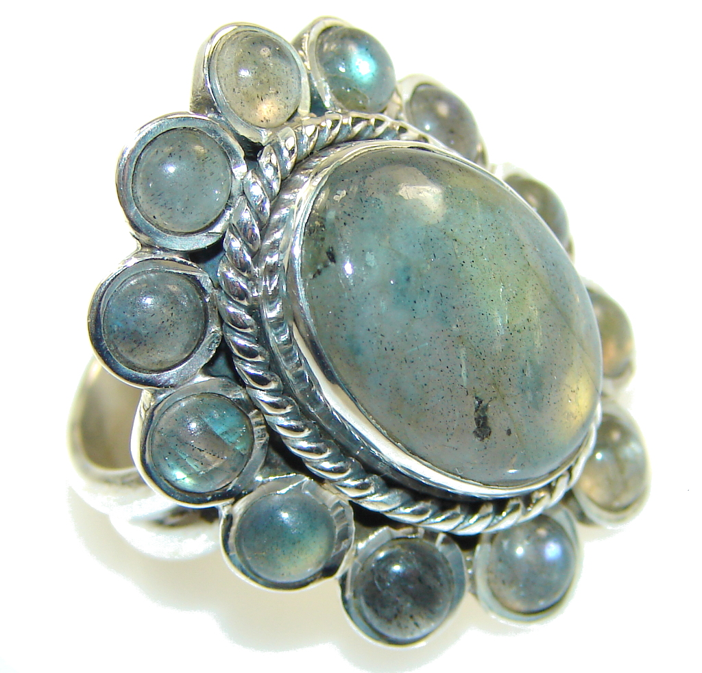 Excellent Gray Labradorite Sterling Silver ring s. 6 1/4