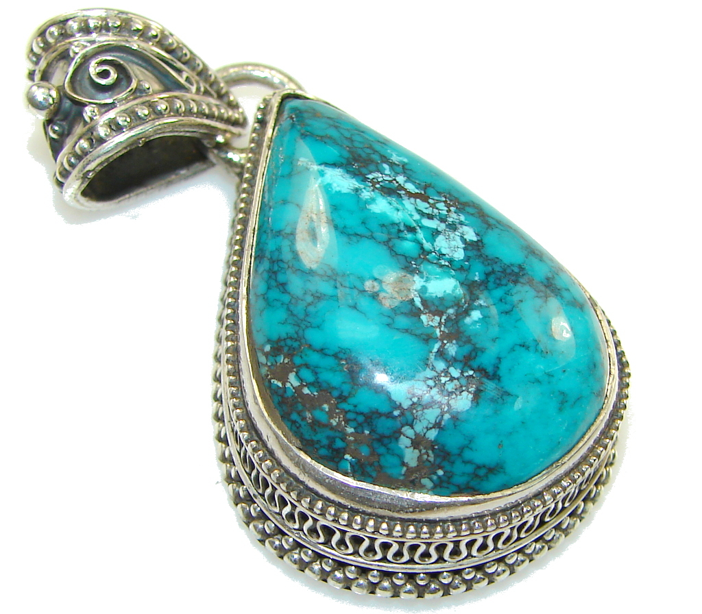 Mountain Spiderweb, A-Grade Blue/Green! Turquoise Sterling Silver Pendant