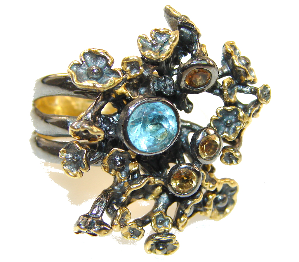 Italy Made,Rhodium Plated, 18ct Gold Plated Swiss Blue Topaz Sterling Silver Ring s. 7