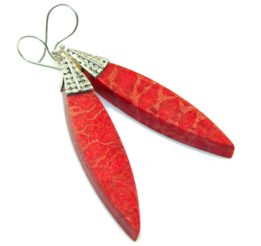 Long! Precious Red Fossilized Coral Sterling Silver earrings