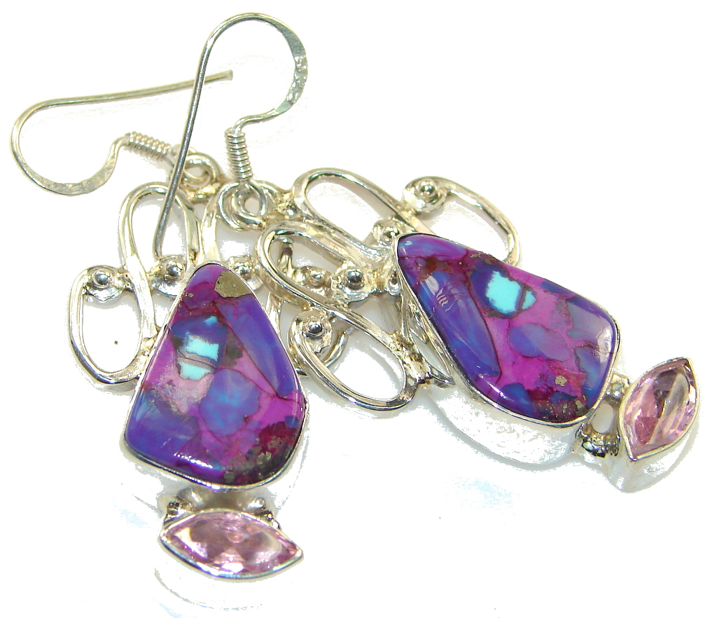 Awesome Design!! Purple Turquoise Silver Sterling earrings