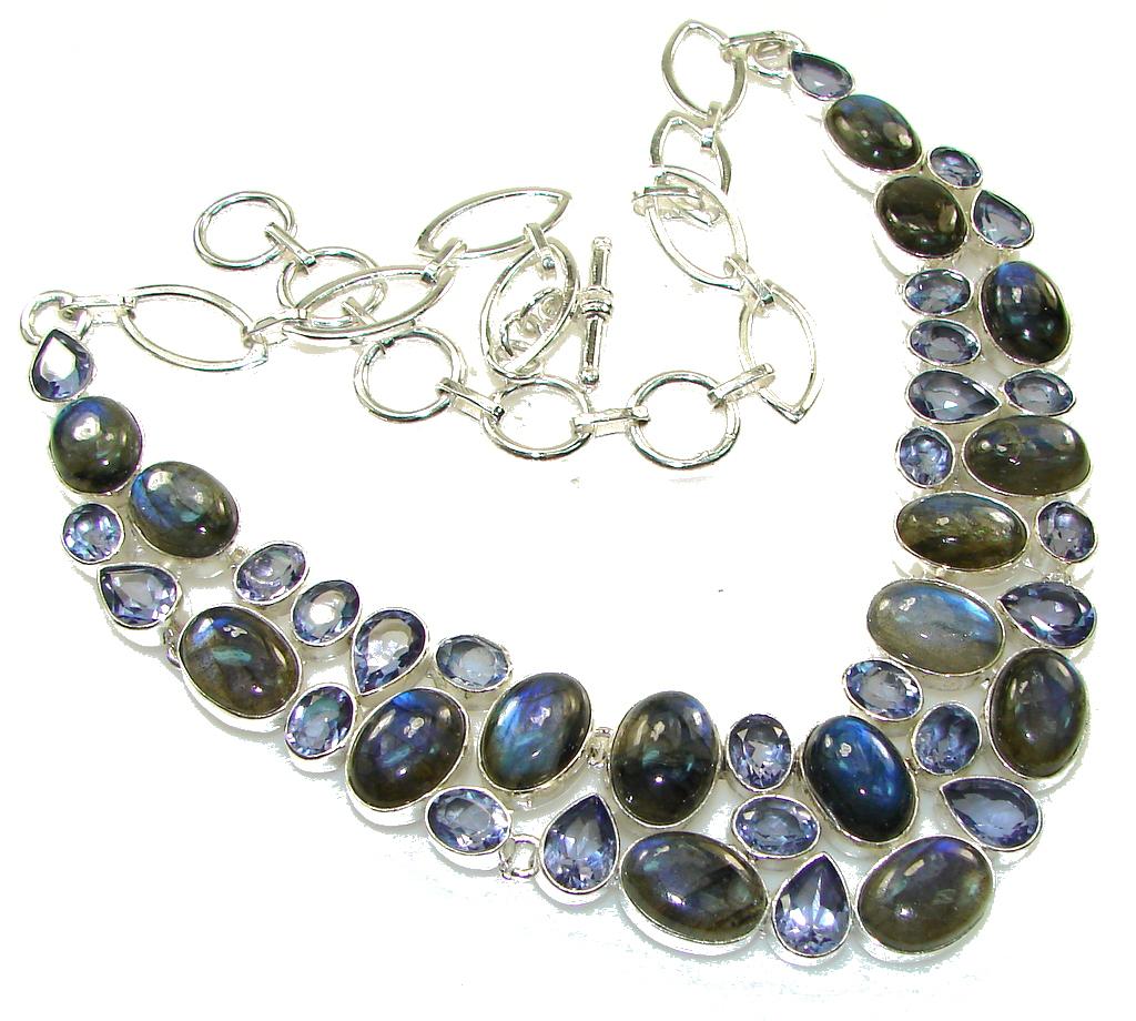 Beautiful! Blue Fire Labradorite Sterling Silver necklace