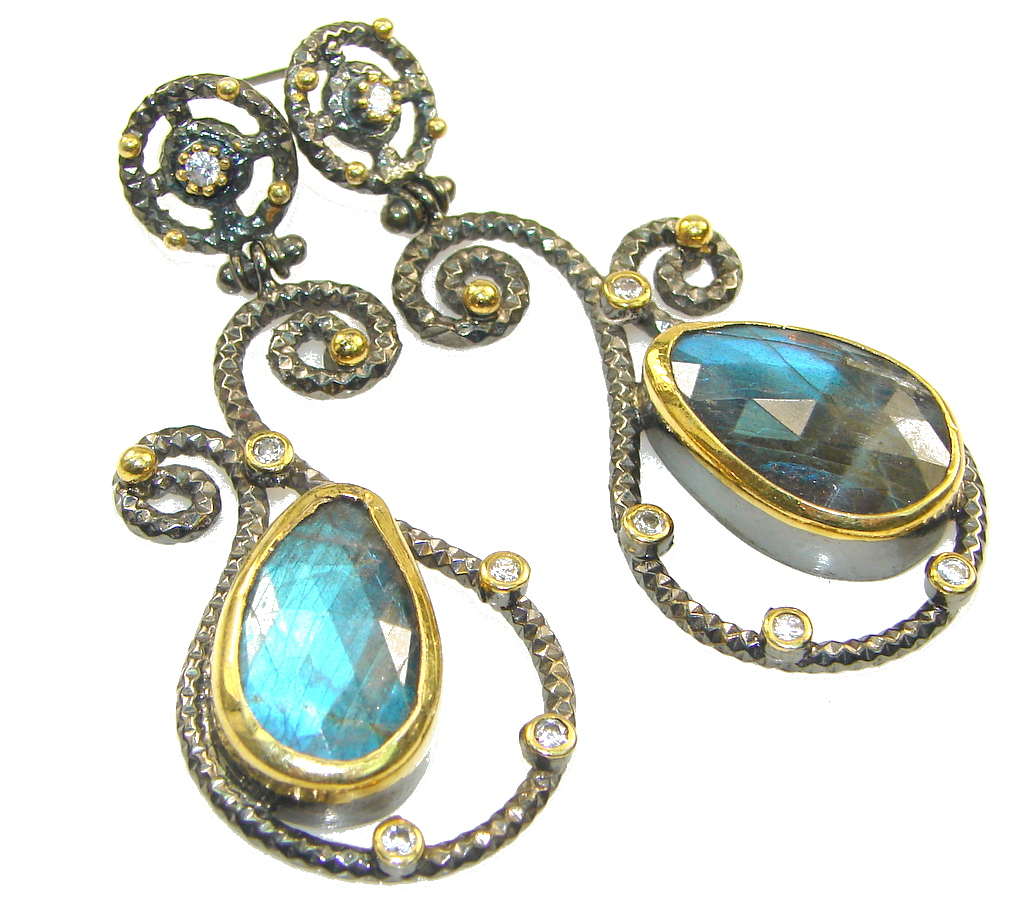 Italy Made! Secret Beauty!! Blue Labradorite, Rhodium Plated, Gold Plated Sterling Silver earrings