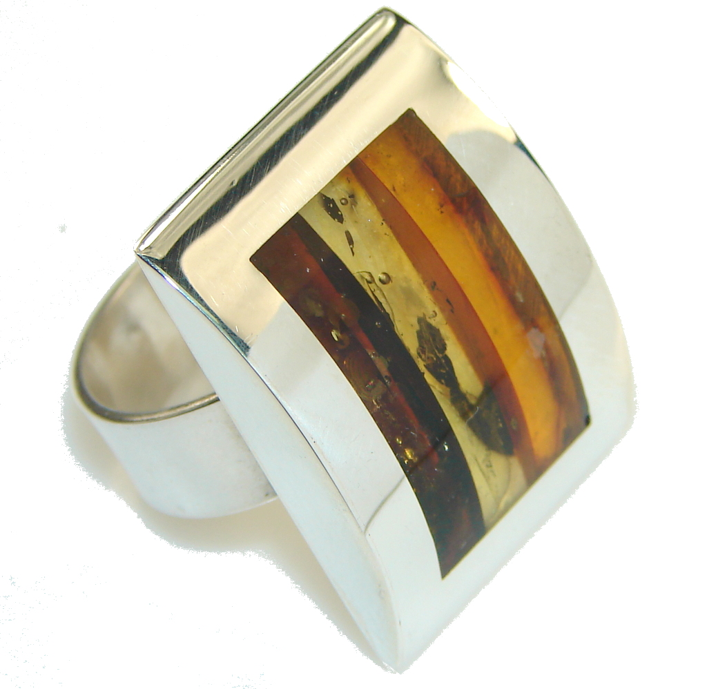 Perfect Polish Amber Sterling Silver Ring s. 7 1/4