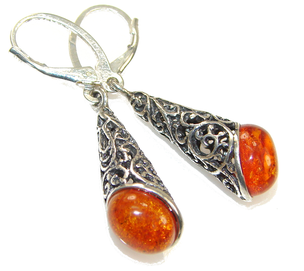 Amazing Polish Brown Amber Sterling Silver earrings