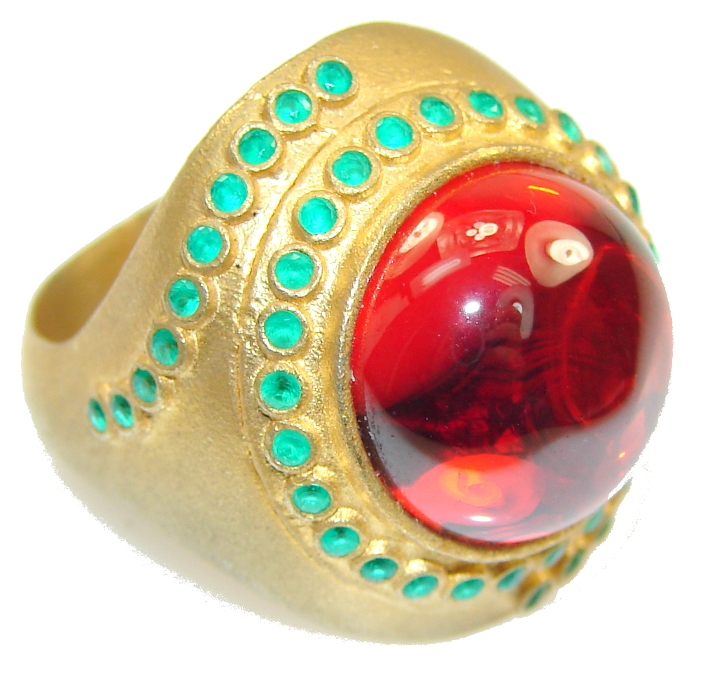 Turkish Style! Vivid Red Created Ruby Sterling Silver Gold Plated ring s. 7 1/4