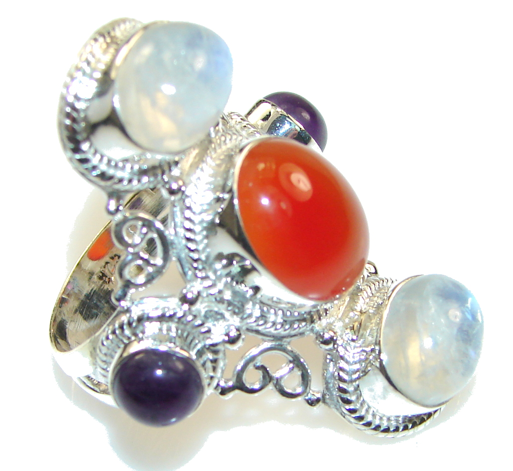 Big! Aura Of Beauty!! Orange Carnelian Sterling Silver ring s. 9 1/4