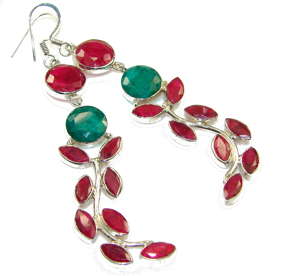 Big! Stylish Pink Ruby Sterling Silver earrings / Long
